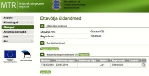Gustavo OÜ MTR registreering, elektritööd